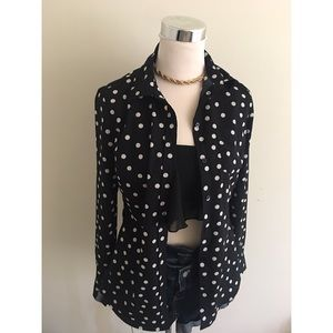 Gorgeous Black and White Polka Dot Blouse